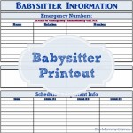 Babysitter Printout Keep everything your sitter needs to know in one spot! {The Mommy Games}