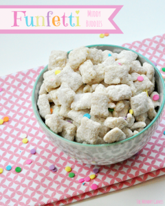 Funfetti Muddy Buddies. Fun and perfect for a party! {The Mommy Games}