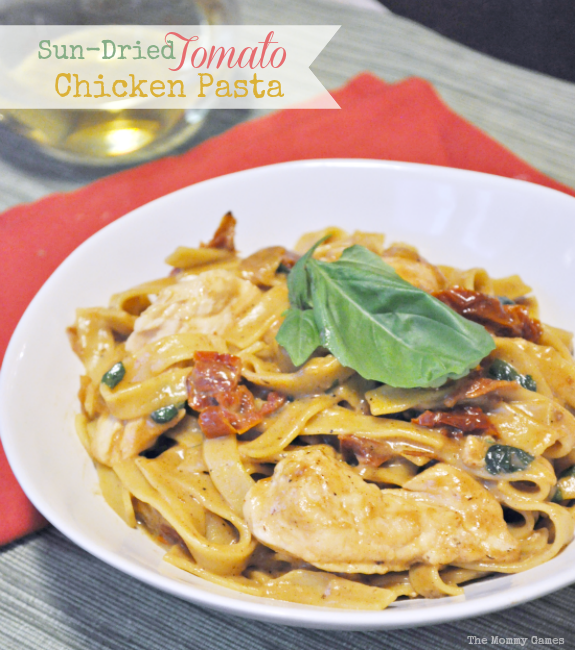 Sun-Dried Tomato Chicken Pasta  Amazing flavor packed into this easy weeknight meal! {The Mommy Games}